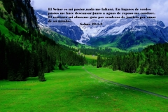The Lord is my shepherd; I shall not want.  He maketh me to lie down in green pastures: he leadeth me beside the still waters. He restoreth my soul: he leadeth me in the paths of righteousness for his name's sake.